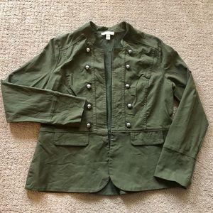 Olive Twill Peplum-Back Military Jacket